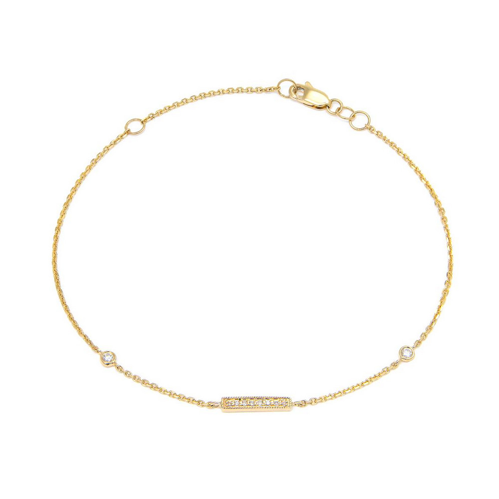 14K Yellow Gold Bar Single Micro Pave Diamond Bracelet