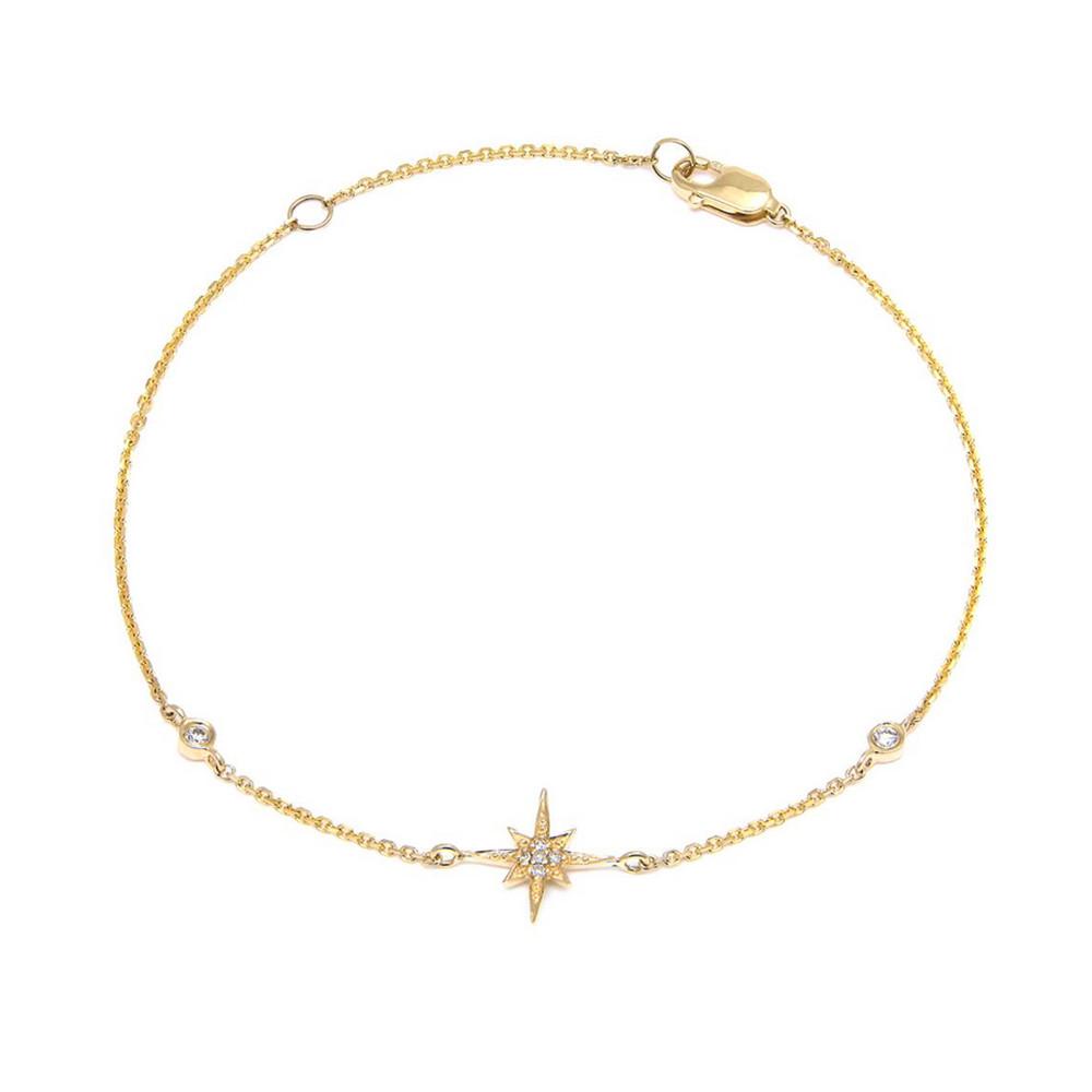 14K Yellow Gold Star Single Micro Pave Diamond Bracelet