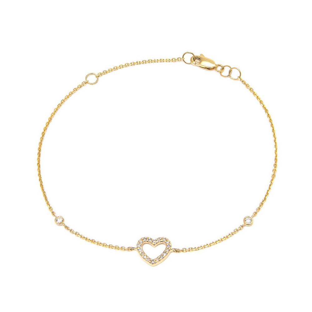 14K Yellow Gold Heart Single Micro Pave Diamond Bracelet