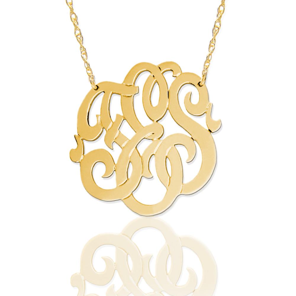 Freeform Script Monogram Necklace