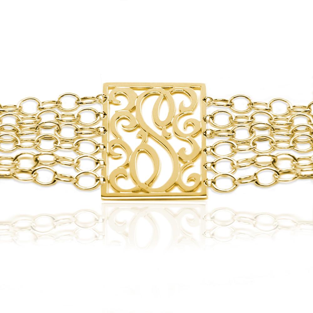 Lace Rectangle Initial Bracelet