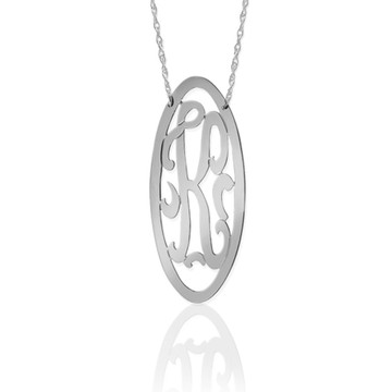 Long Oval Framed Swirly Initial