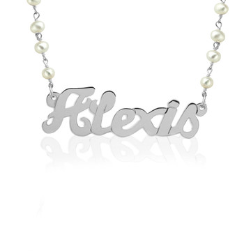 Script Nameplate on Gemstone Chain