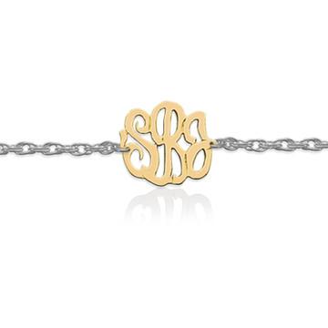 Gold Script Monogram on Sterling Silver Bracelet