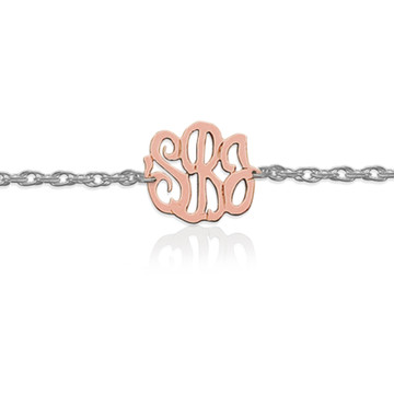 Gold Script Monogram on Sterling Silver Bracelet