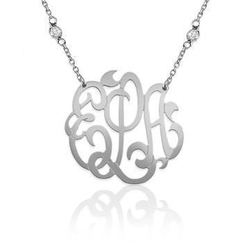 Handcut Script Monogram on CZ Chain
