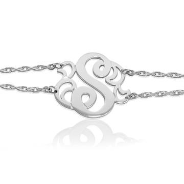 JBD229B Swan Initial Double Chain Bracelet