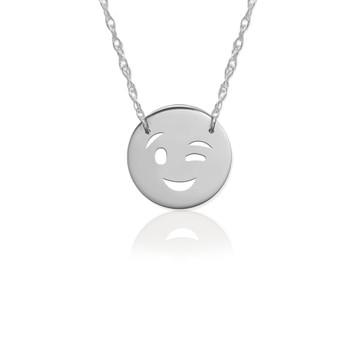 JBD377 Wink Emoji in Sterling Silver