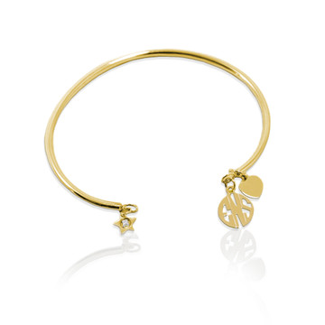 Smooth Wire Bracelet with Block Monogram
