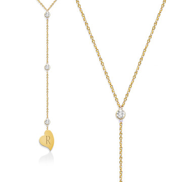Lariat Necklace with CZ Accent and Initial Heart