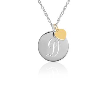 Pierced Disc Initial Charm w Gold Heart