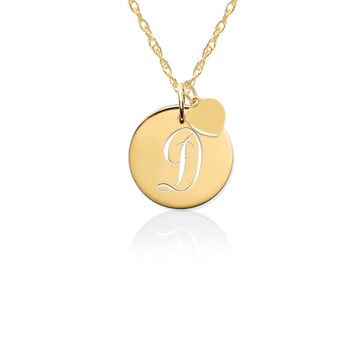 14K Gold Pierced Disc Initial Charm w Gold Heart