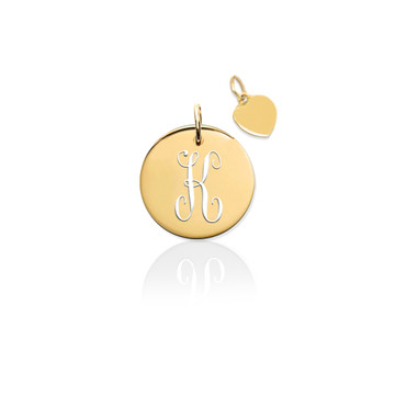 14K Pierced Disc Initial Charm w Gold Heart (no chain)