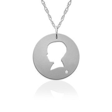 Little Boy Silhouette Pendant w Diamond Accent