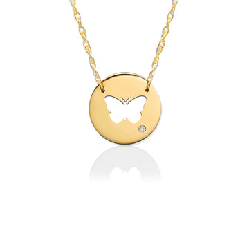 """1/2"""" Butterfly Disc Icon w Diamond Accent"""
