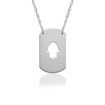 "3/4"" Hamsa Dog Tag Icon w Diamond Accent"