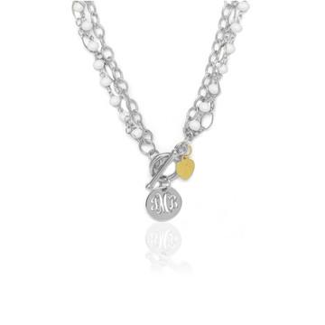 Pierced Disc Monogram Multi-Strand Pearl Necklace