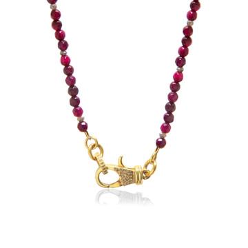 22K Gold over Sterling Silver Diamond Lock on Garnet Beaded Chain