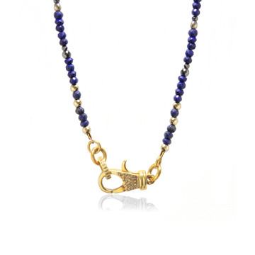 22K Gold over Sterling Silver Diamond Lock on Sodalite Beaded Chain