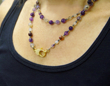 "Wear It 3 Ways 36"" Marine Agate & Pavé Diamond Lock Necklace"