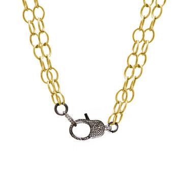 Pavé Diamond Lock & Double Cable Link Chain