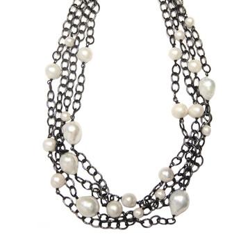 Multi-Strand Pavé Diamond Lock & Baroque Pearl Necklace