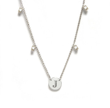 Single Initial Engraved Disc With White Sapphire Baguettes