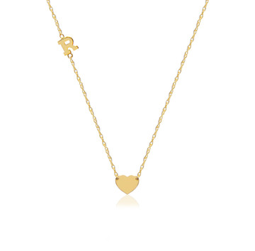 14K Gold Heart Charm and Initial Necklace