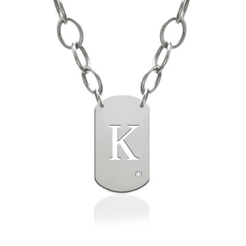 Block Initial Dog Tag Charm with Diamond Accent