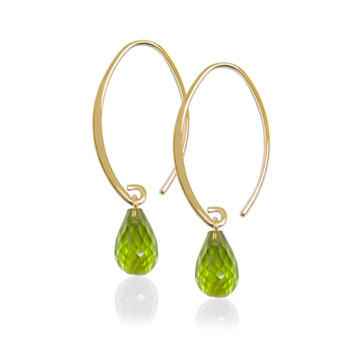 14K Gold Briolette Gemstone Earrings