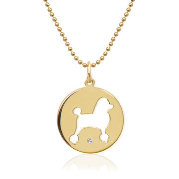 Pierced Dog Necklace with Diamond Accent