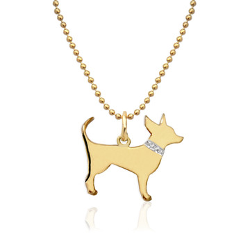 My Dog Necklace On Center Loop with Diamond Accent Collar