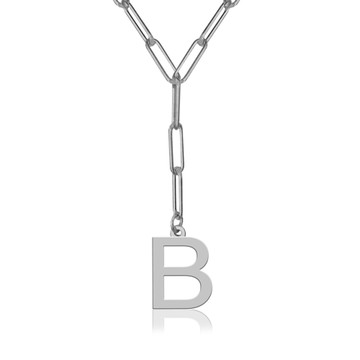 "Block Initial On 20"" Paper Clip Necklace"