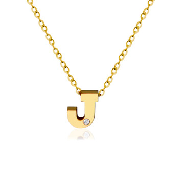 14K Gold Block initial With Diamond Accent