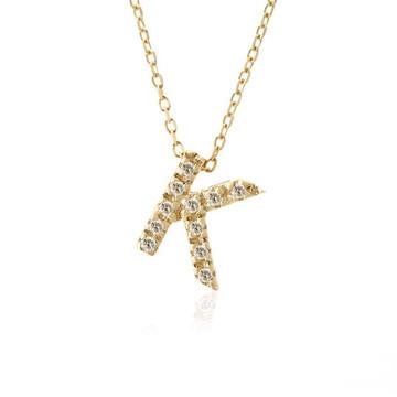 Single Initial Micro Pave Diamond Necklace