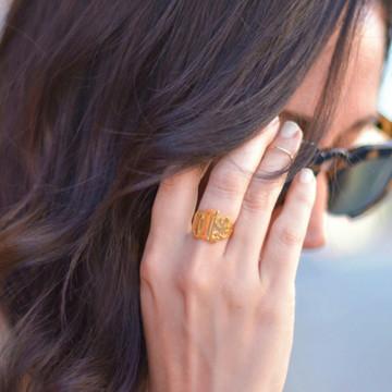 Lucky Signet Monogram Ring