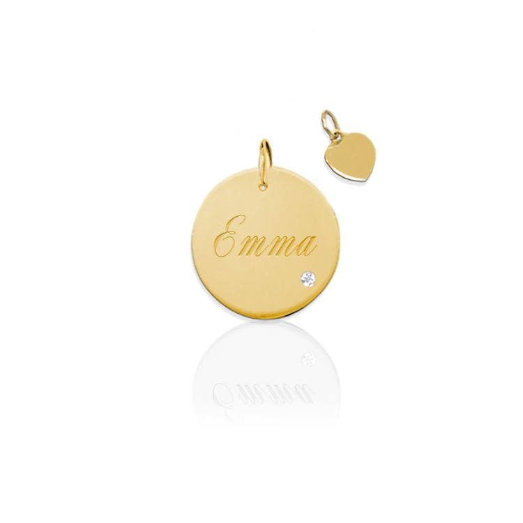 Engraved Disc Charm with Diamond