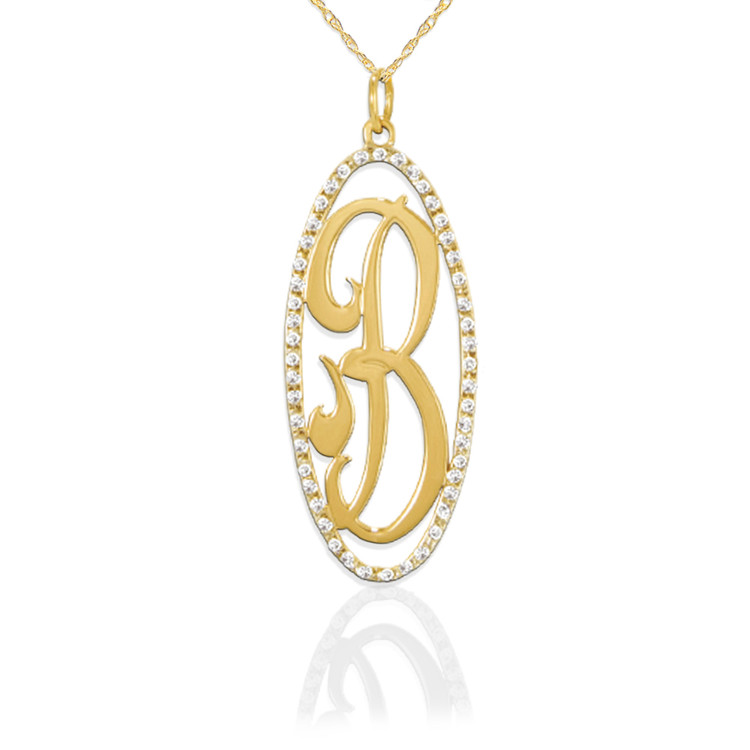 JBD309 14K Gold Oval Diamond Pendant