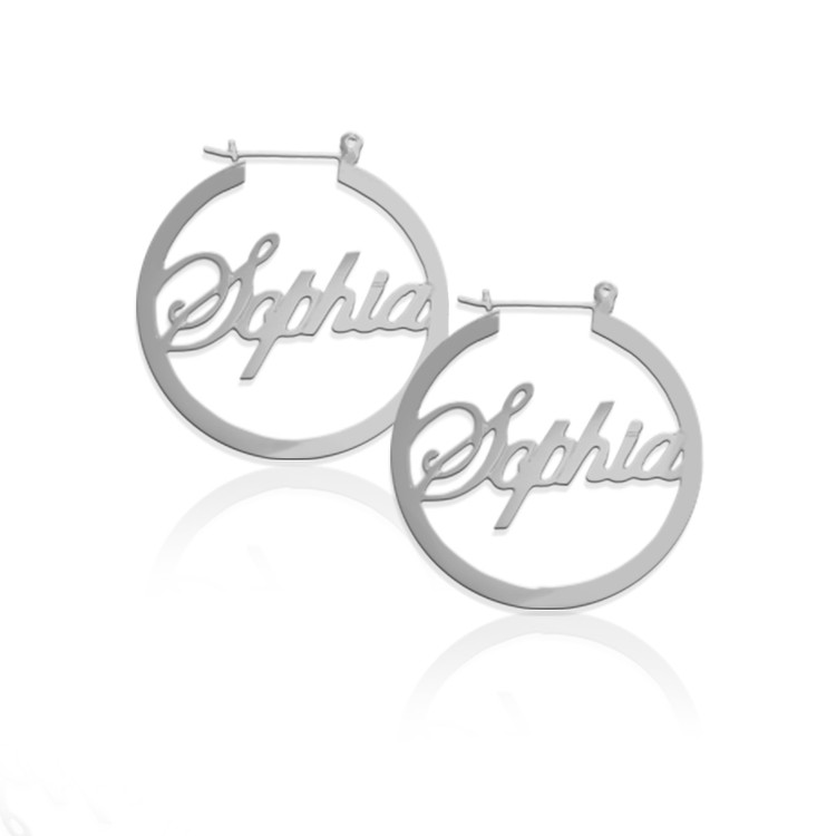 JBD336 Script Name Hoop Earrings