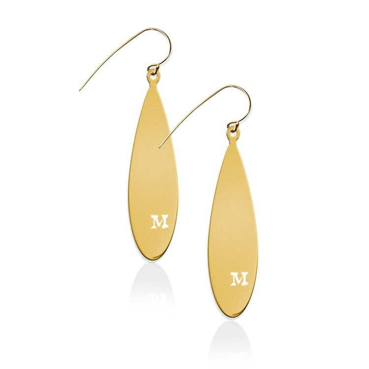 JBD357 Teardrop Earrings with Pierced Initial