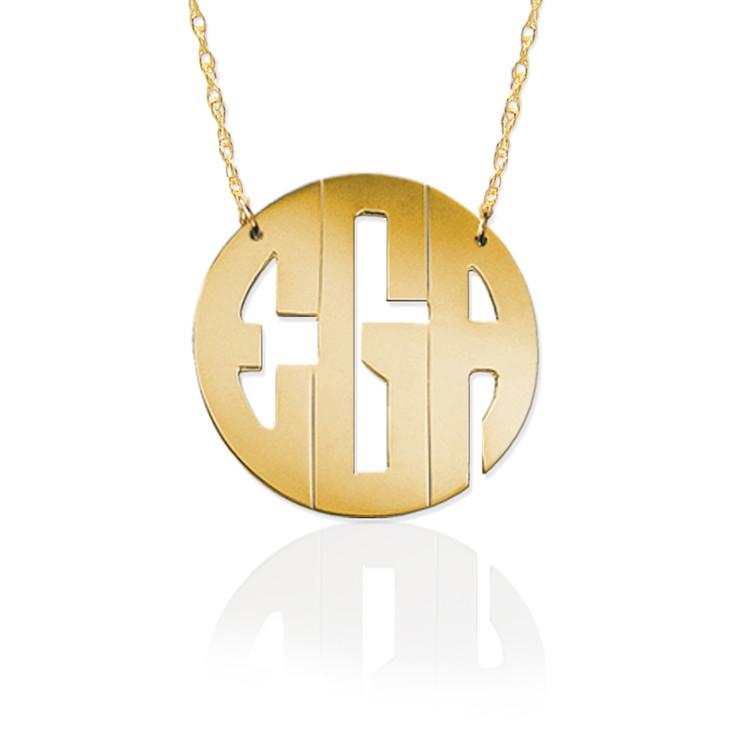 Gold Block Monogram Necklace