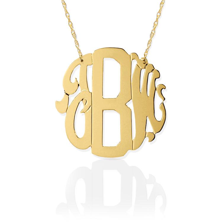 Gold Block & Script Monogram Necklace