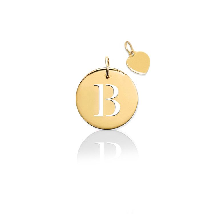 Pierced Disc Initial Charm w Gold Heart (no chain)