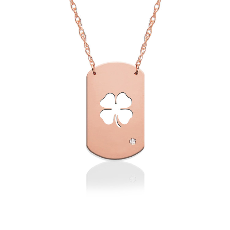 "3/4"" Clover Dog Tag Icon w Diamond Accent"
