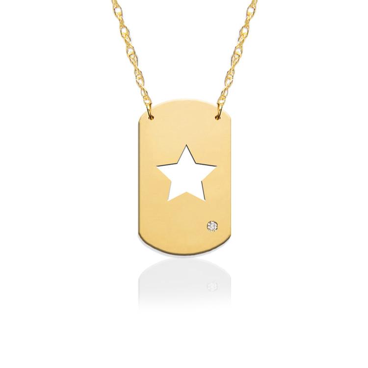 "3/4"" Star Dog Tag Icon w Diamond Accent"