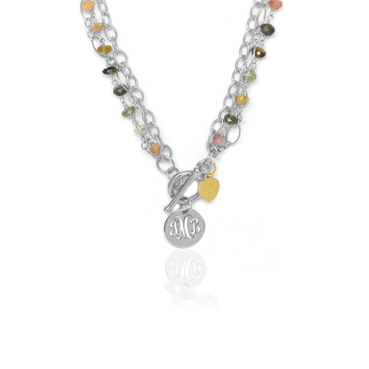 Pierced Disc Monogram Multi-Strand Necklace