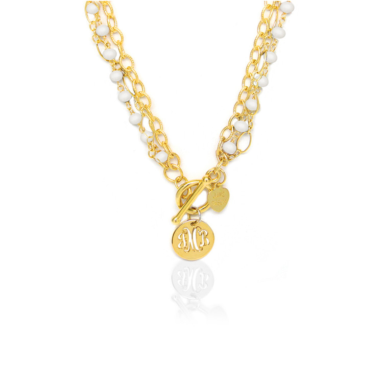 Pierced Disc Monogram Multi-Strand Pearl Necklace