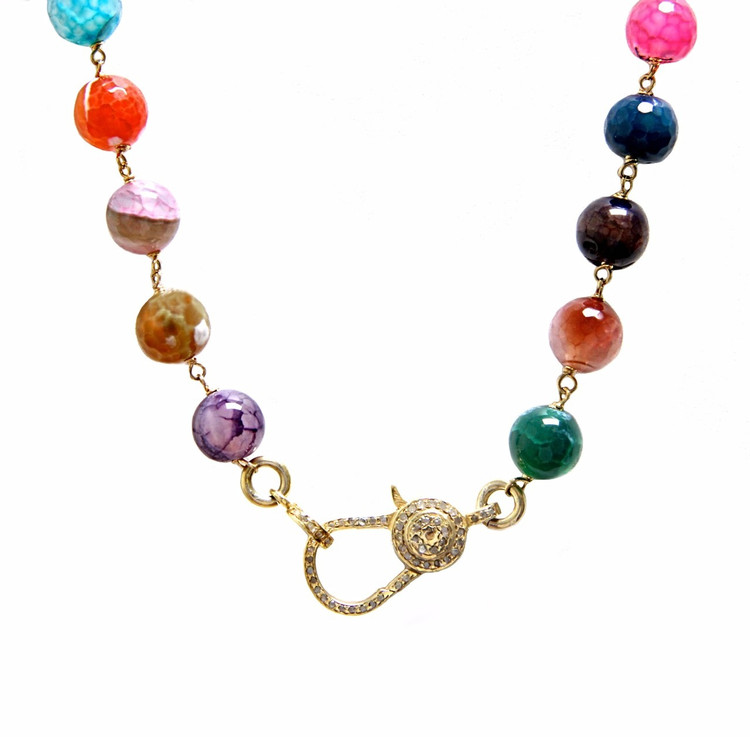 Multi-Colored Agate & Pavé Diamond Lock Necklace