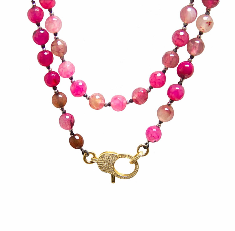 "Wear It 3 Ways 36"" Romantic Agate & Pavé Diamond Lock Necklace"