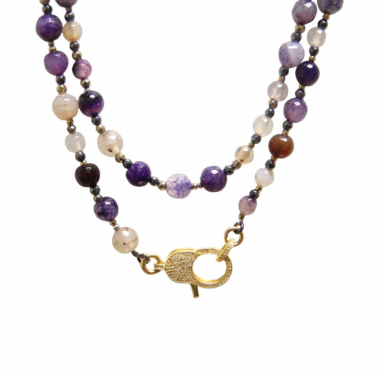"Wear It 3 Ways 36"" Viola Agate & Pavé Diamond Lock Necklace"